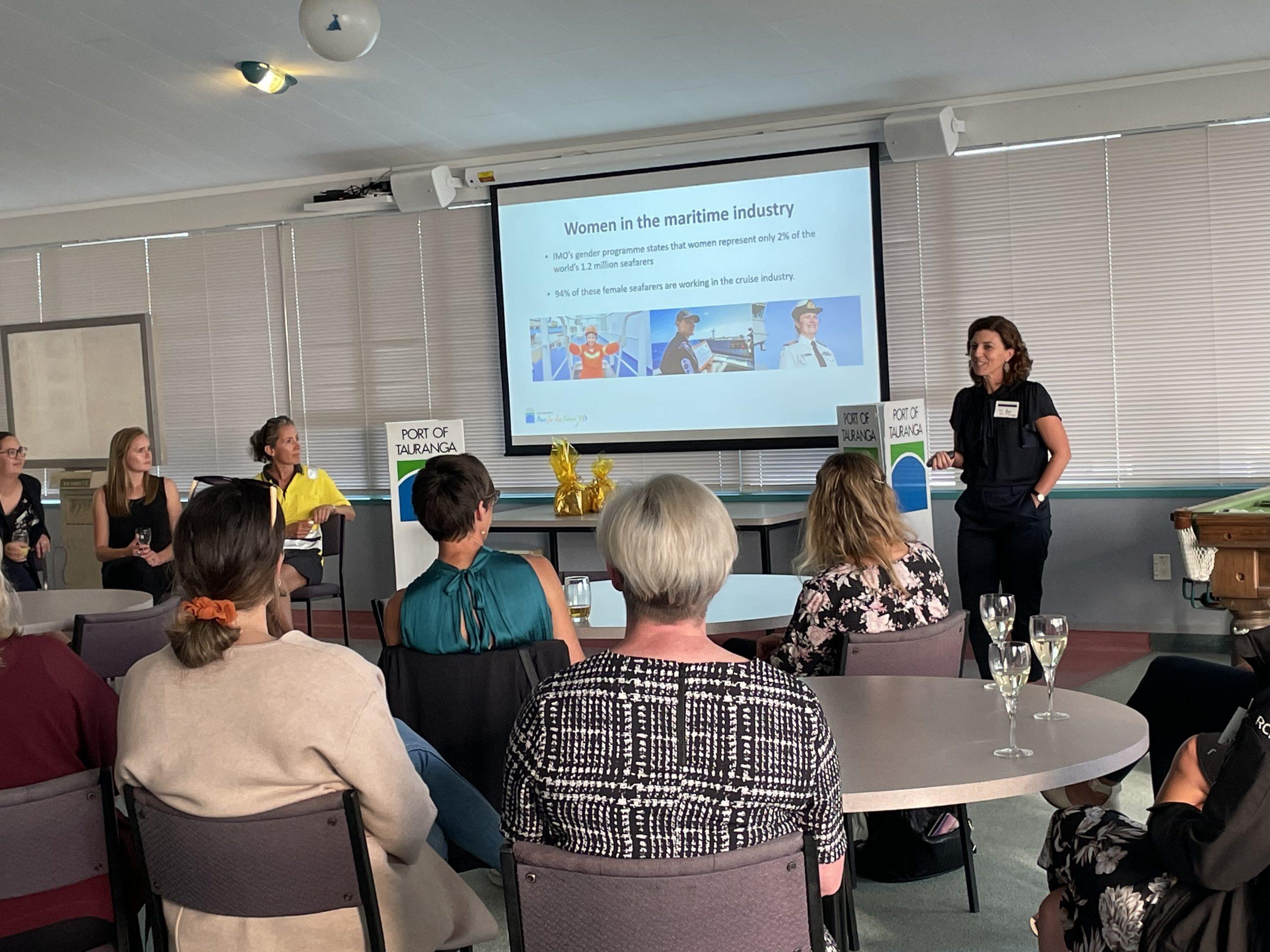 Women listen to Mel Dyer from Port of Tauranga
