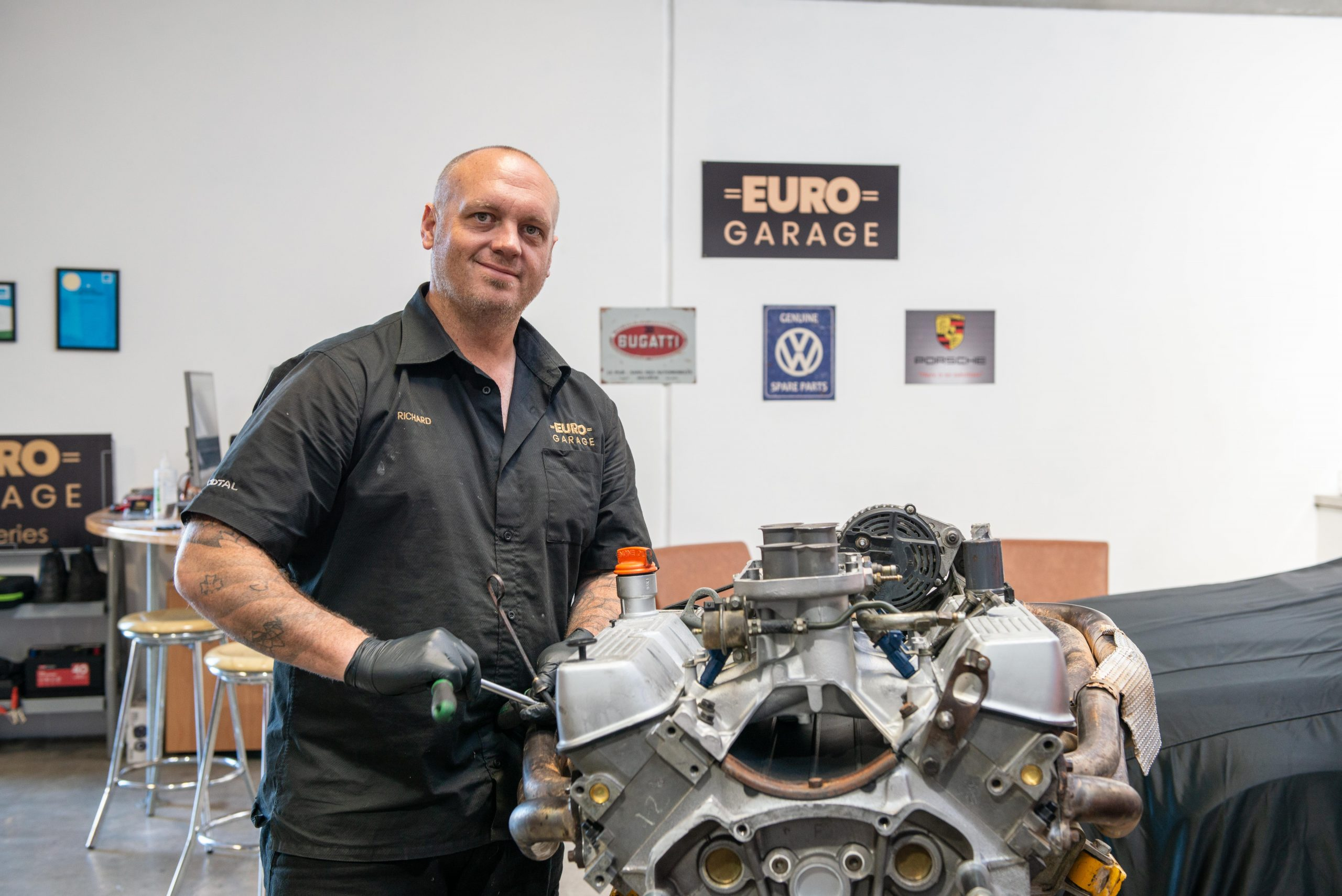 Richard Ross from Euro Garage works on an engine