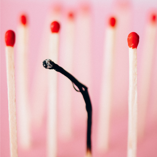 Row of matches with ones match used