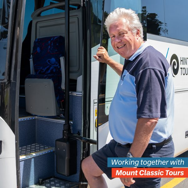 Ian from Mount Classic Tours getting into a bus